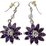 Purple Earrings Vintage Flower Shaped for Pierced Ears