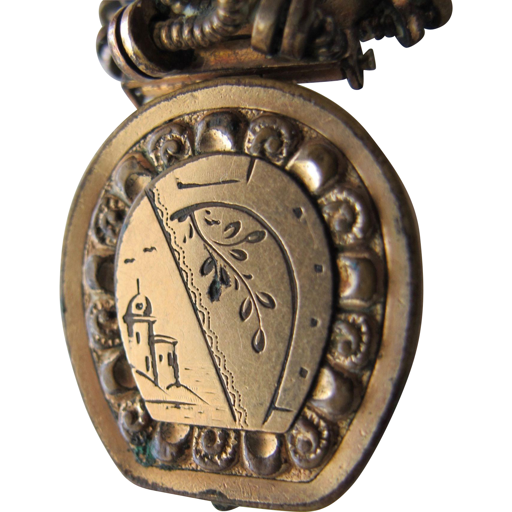Locket Pendant from Victorian Era Gold Metal with Etching Unique