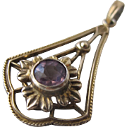 Art Nouveau Pendant with Amethyst Gemstone Sterling with Gold Overlay