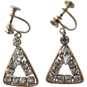 Vintage Rhinestone Earrings Screw Back