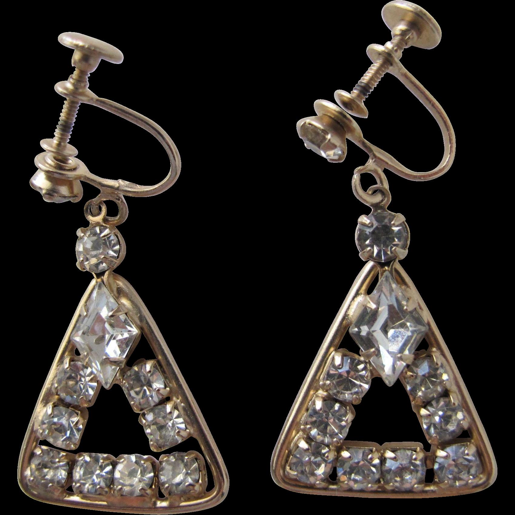 Vintage Rhinestone Earrings Screw Back