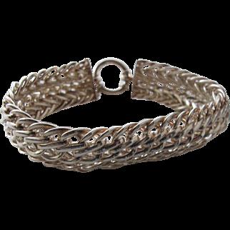 Sterling Silver Bracelet Wide Interlocked Chains from Turkey