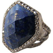 Blue Stone Ring with Sterling Silver and Bling Size 8