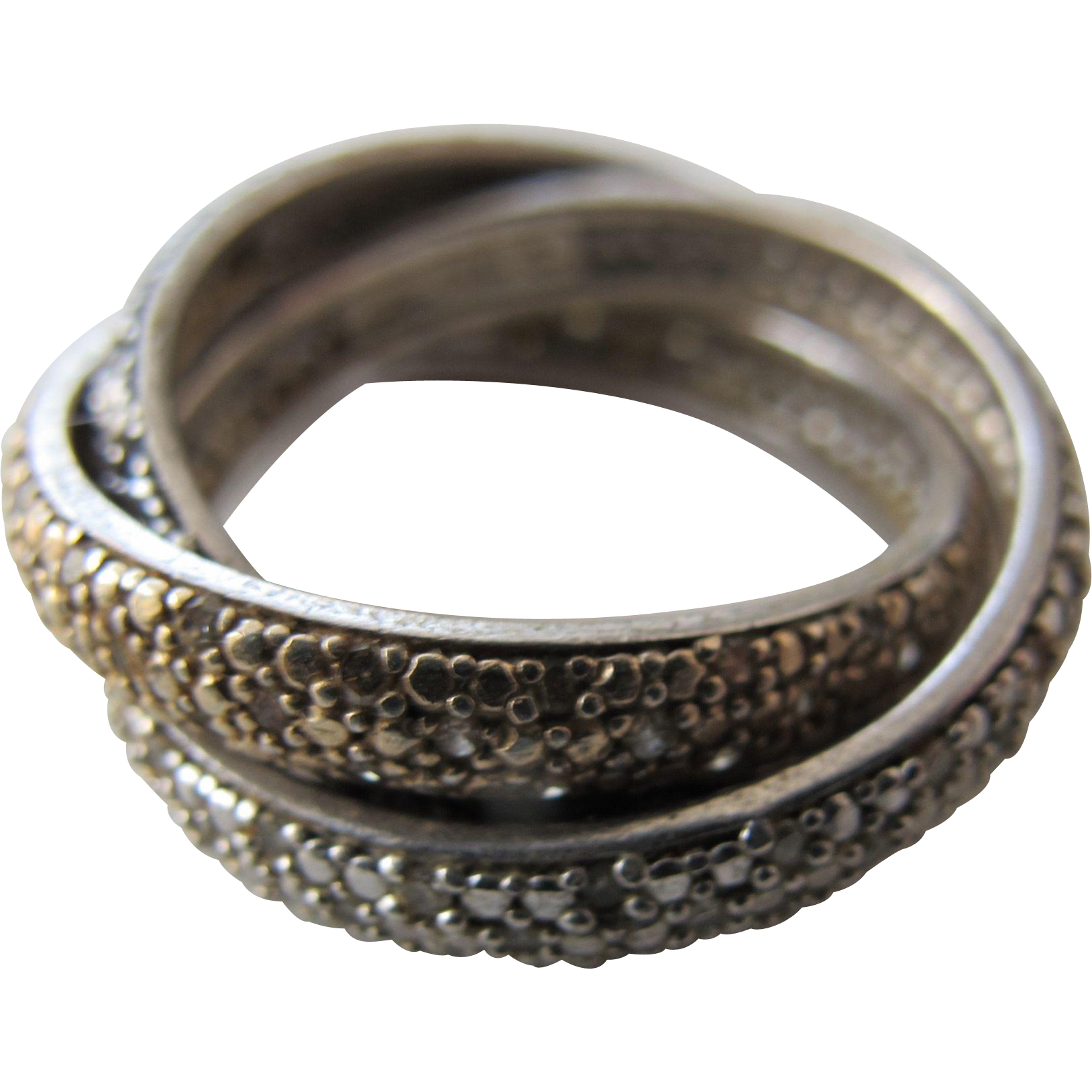 Sterling Silver Ring Three Rings in One Gold Sterling Platinum Colors in Sterling