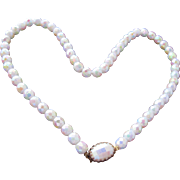 Necklace Glass Cut Beads in White with Pastel Colors and Ornate Clasp Sparkly