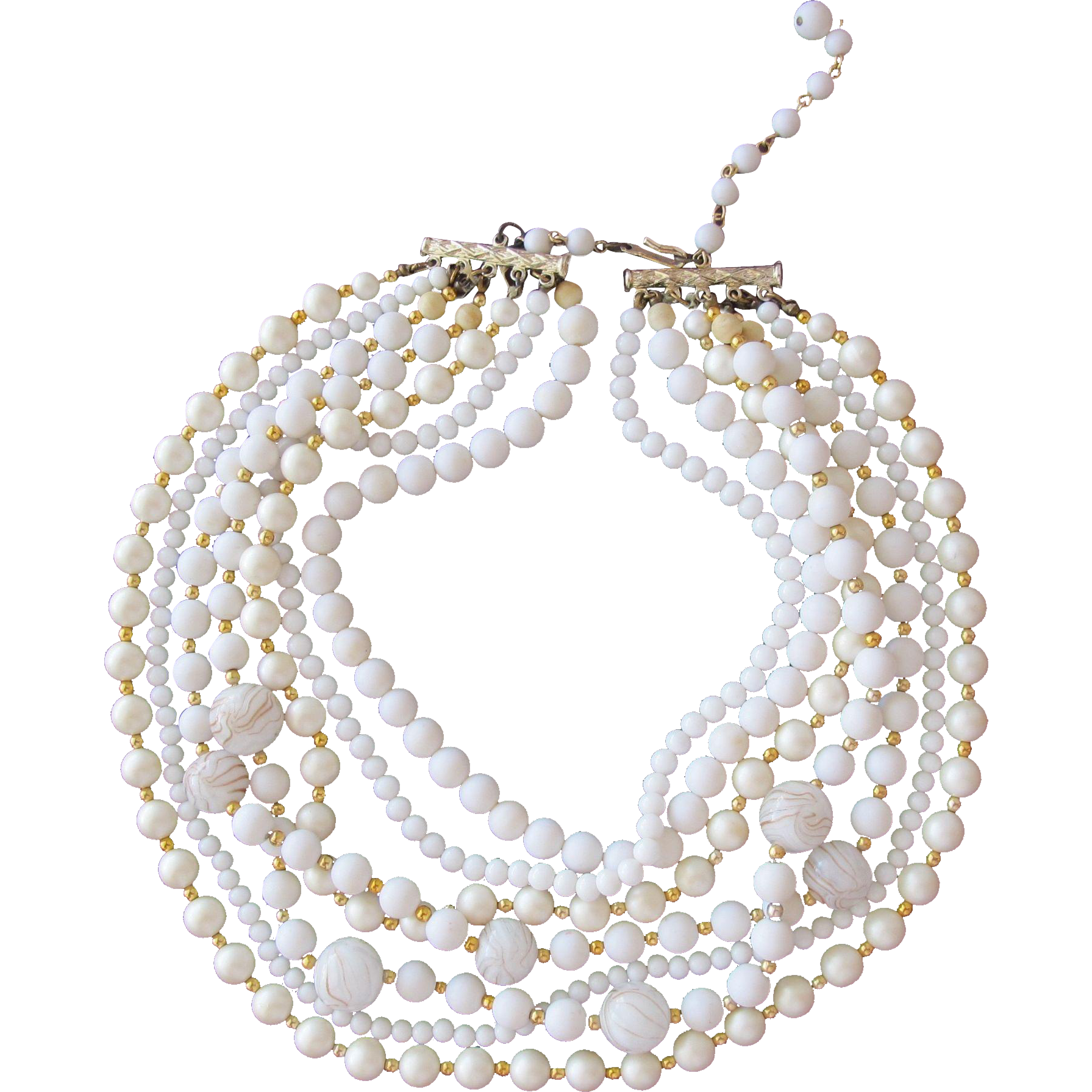 Vintage Beaded Necklace with Murano Glass Beads Faux Pearls Made in Japan 1960