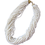 Choker Style Beaded Necklace Multiple Strands of Small Beads in White