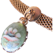 Choker Necklace with Hand Painted Porcelain Flower
