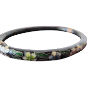 Vintage Enamel Bracelet Chinese Cloisonné with Pastel Flowers on Black