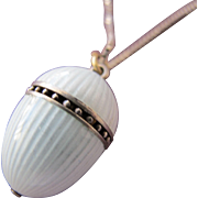 Antique Enamel Vinaigrette Pendant with Sterling Silver Chain 925 Perfect  White Guilloche Enamel