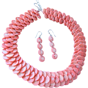Vintage Coral Necklace Earrings Set Sterling Silver Made in China