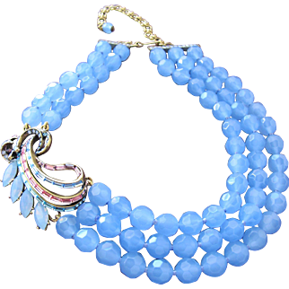 Heidi Daus Vintage Necklace in Blue Gray Glass Beads with Crystal Pendant