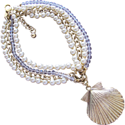 Designer Necklace Badgley Mischka Faux Pearls Crystal Beads with Shell Pendant in Gold Metal