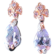 Pink Amethyst Earrings Sterling Silver and Gold