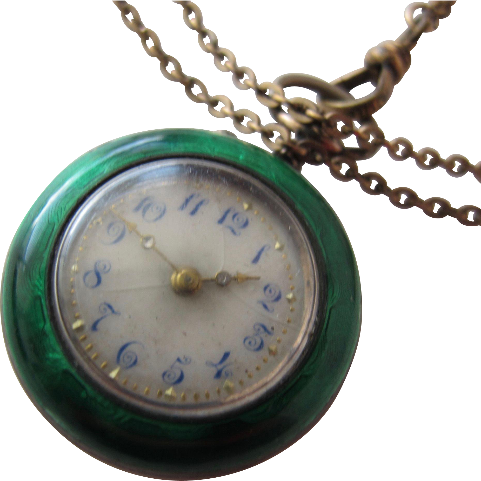 Ladies Antique Watch with Guilloche Enamel Swiss Movement