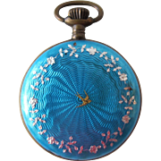 Antique Guilloche Enamel Ladies Watch in Turquoise French Enamel