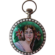 Ladies Vintage Watch Enamel Swiss Parts Seed Pearls with Art Nouveau Lady