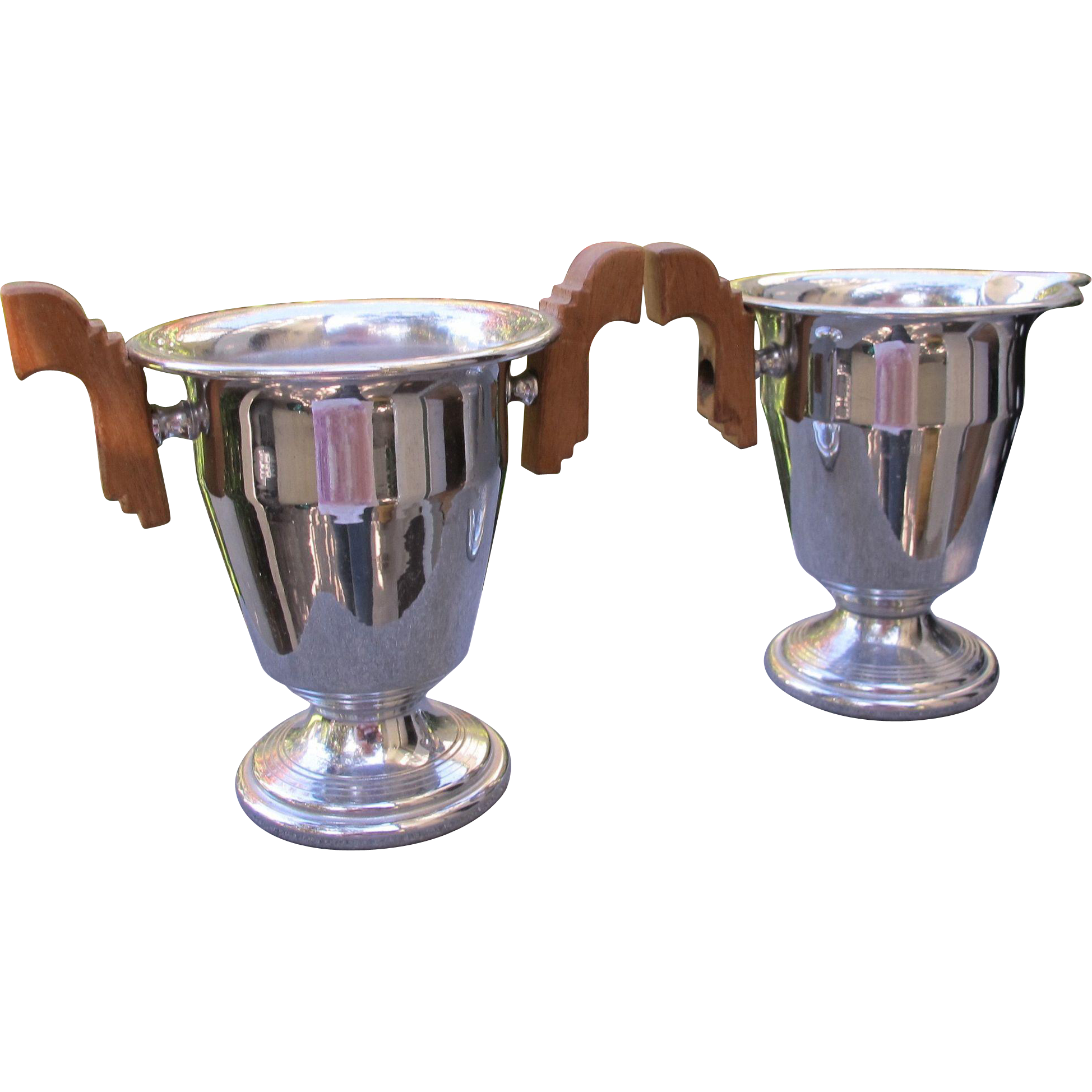 Art Deco Creamer and Sugar Set in Chrome with Wood Handles