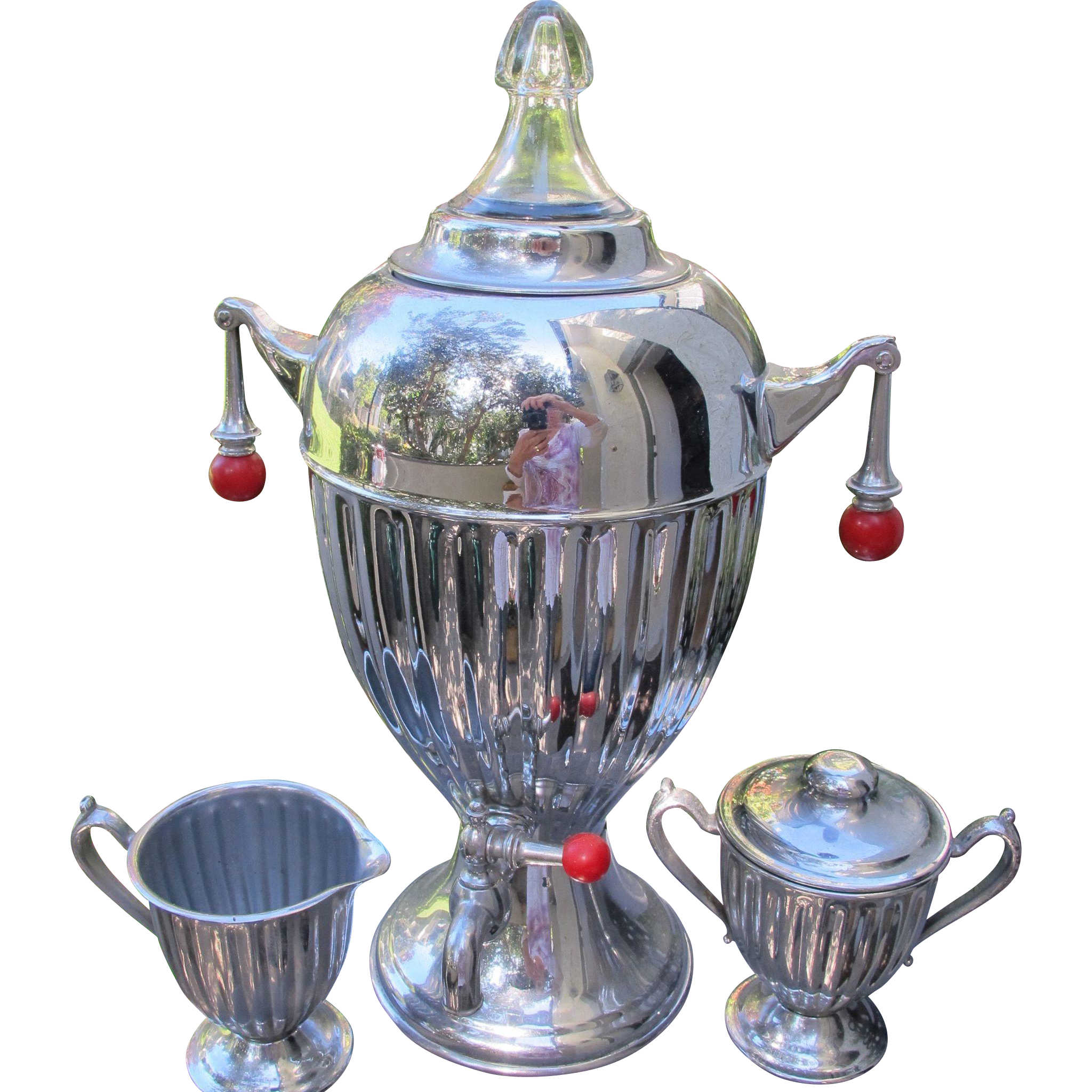 Art Deco Coffee Pot Percolator Of Chrome And Backlite With