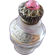 Vintage Mini Perfume Bottle with Jeweled Top Sweet Pea by Duvinne NY