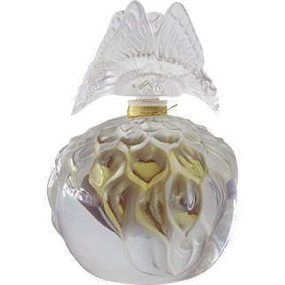Limited Edition Lalique Boxed Perfume Bottle Pristine Butterfly Stopper Crystal Bottle