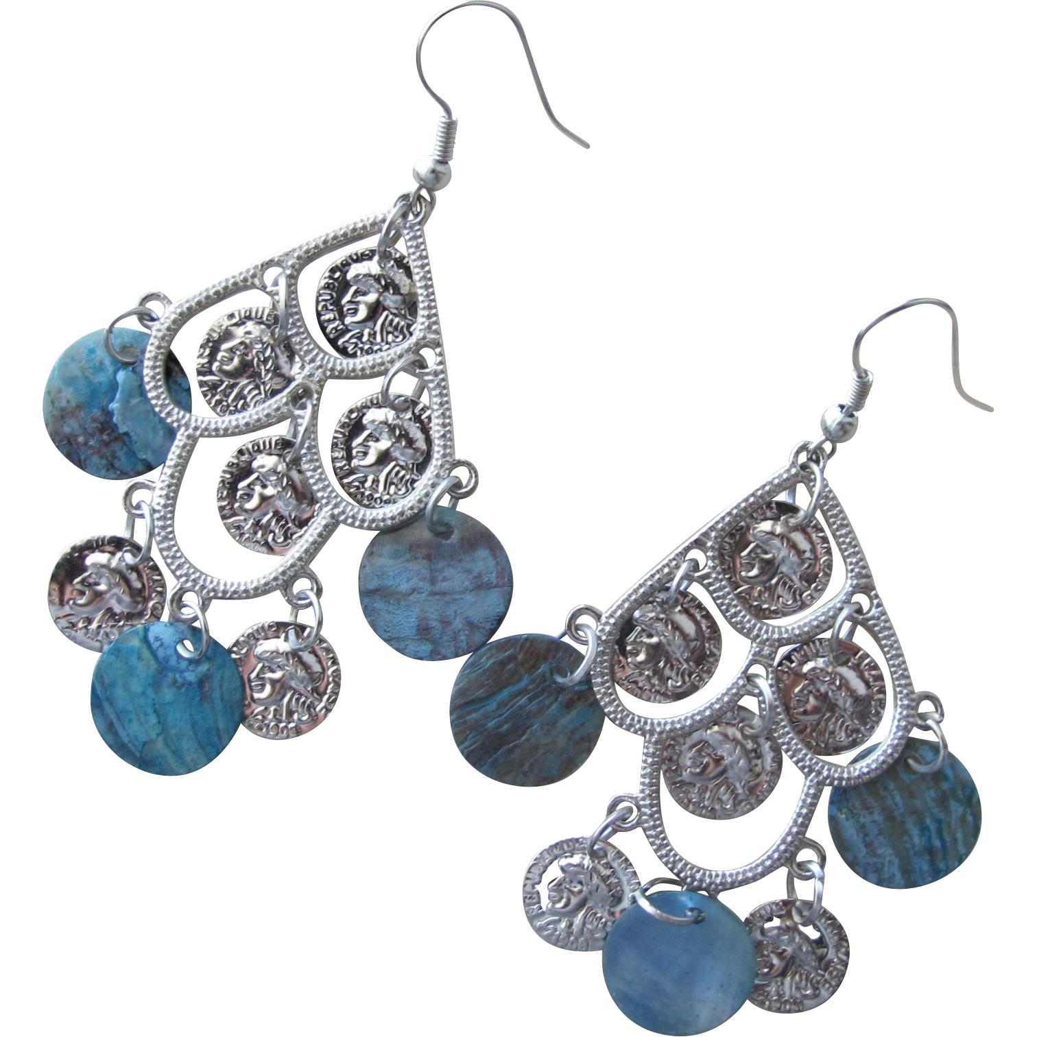 Chandelier Earrings Light and Fun Small Coins Abalone