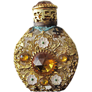 Jeweled Perfume Bottle Czechoslovakian Mini Purse Perfume Gold Stones