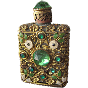 Jeweled Perfume Bottle Czechoslovakian Mini Purse Perfume Green Stones