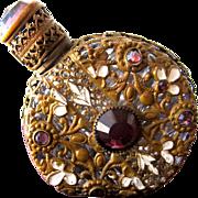 Czechoslovakian Perfume Bottle Jeweled Glass Purple Stones with Filigree and Enamel