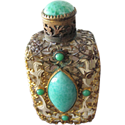 Czechoslovakian Perfume Bottle Jeweled Faux Jade Stones Filigree Enamel