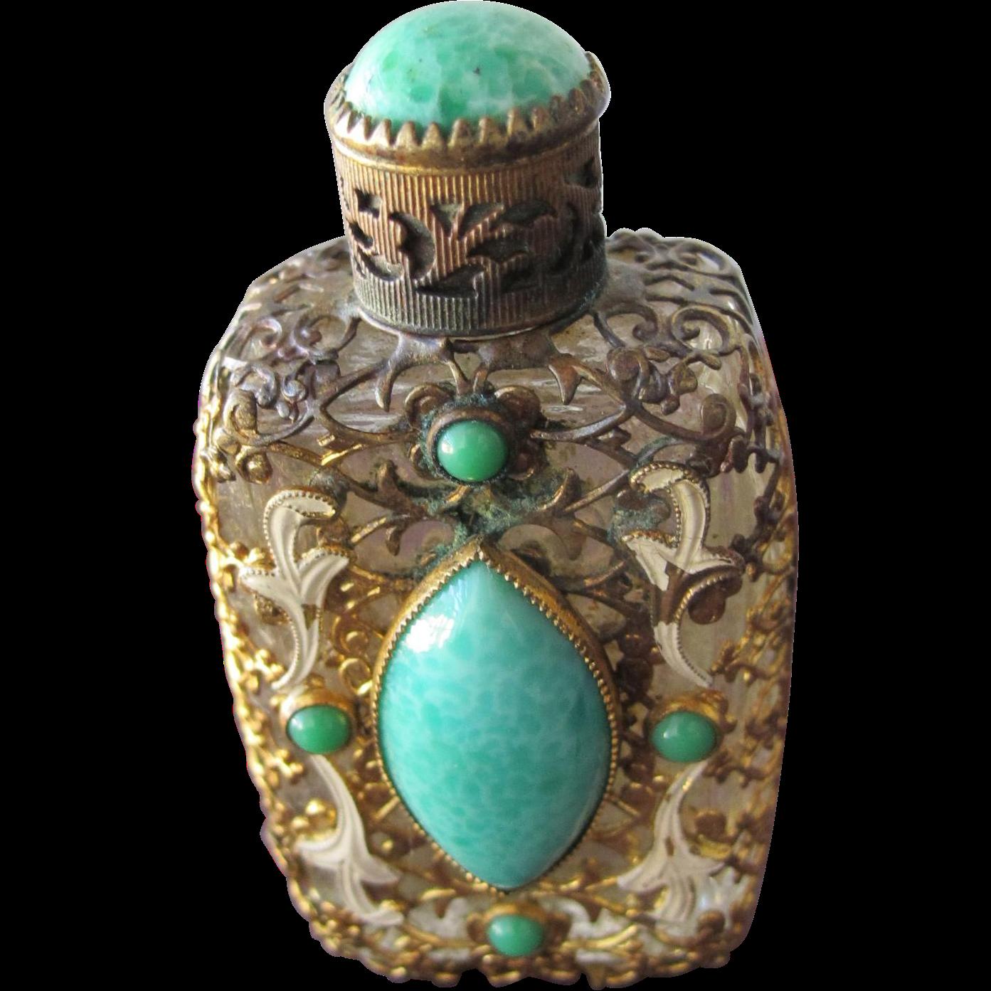 Czechoslovakian Perfume Bottle Jeweled Faux Jade Stones Filigree Enamel