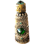 Czechoslovakian Perfume Bottle Jeweled Green Glass Stones with Filigree