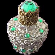 Jeweled Perfume Bottle Czechoslovakian Mini Purse Perfume Green Stones - Red Tag Sale Item