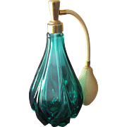 Green Crystal Perfume Bottle Made by Holmspray Atomizer