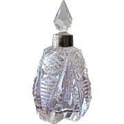 Victorian Perfume Bottle Glass with Metal Collar 1900