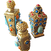Perfume Bottles with Cabochons and Stones  Givenchy Caron f3 Commercial Minis