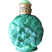 Czechoslovakian Perfume Bottle Malachite Glass