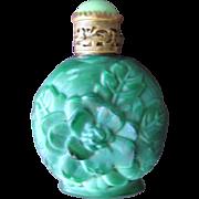 Czechoslovakian Perfume Bottle Malachite Glass - Red Tag Sale Item