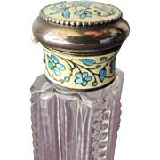 Chatelain Perfume Bottle Scent Bottle Sterling Silver with Enamel
