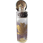 Perfume Bottle Scent Bottle Sterling Silver Gold Etched Glass Victorian Salts Bottle