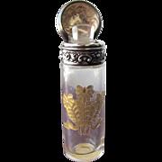 Perfume Bottle Scent Bottle Sterling Silver Gold Etched Glass Victorian Salts Bottle