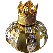 Boxed Perfume Bottle Mini Crown Shape Jeweled Bottle Myrna Pons Spain