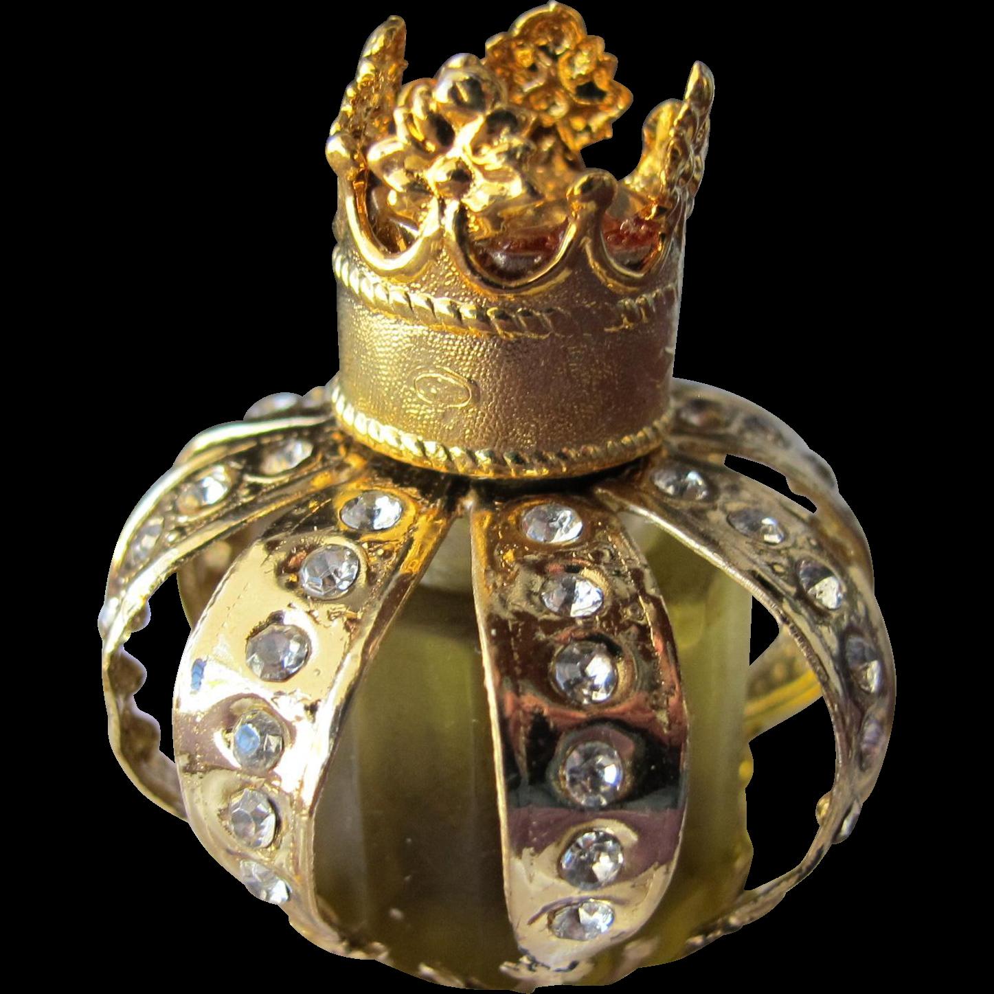 Perfume Bottle Boxed Mini Crown Shape Jeweled Bottle Myrna Pons Spain