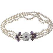 Pearl Necklace Choker with Amethyst Quartz Beads MOP Flower Pendant Cultured Freshwater Baroque Pearls
