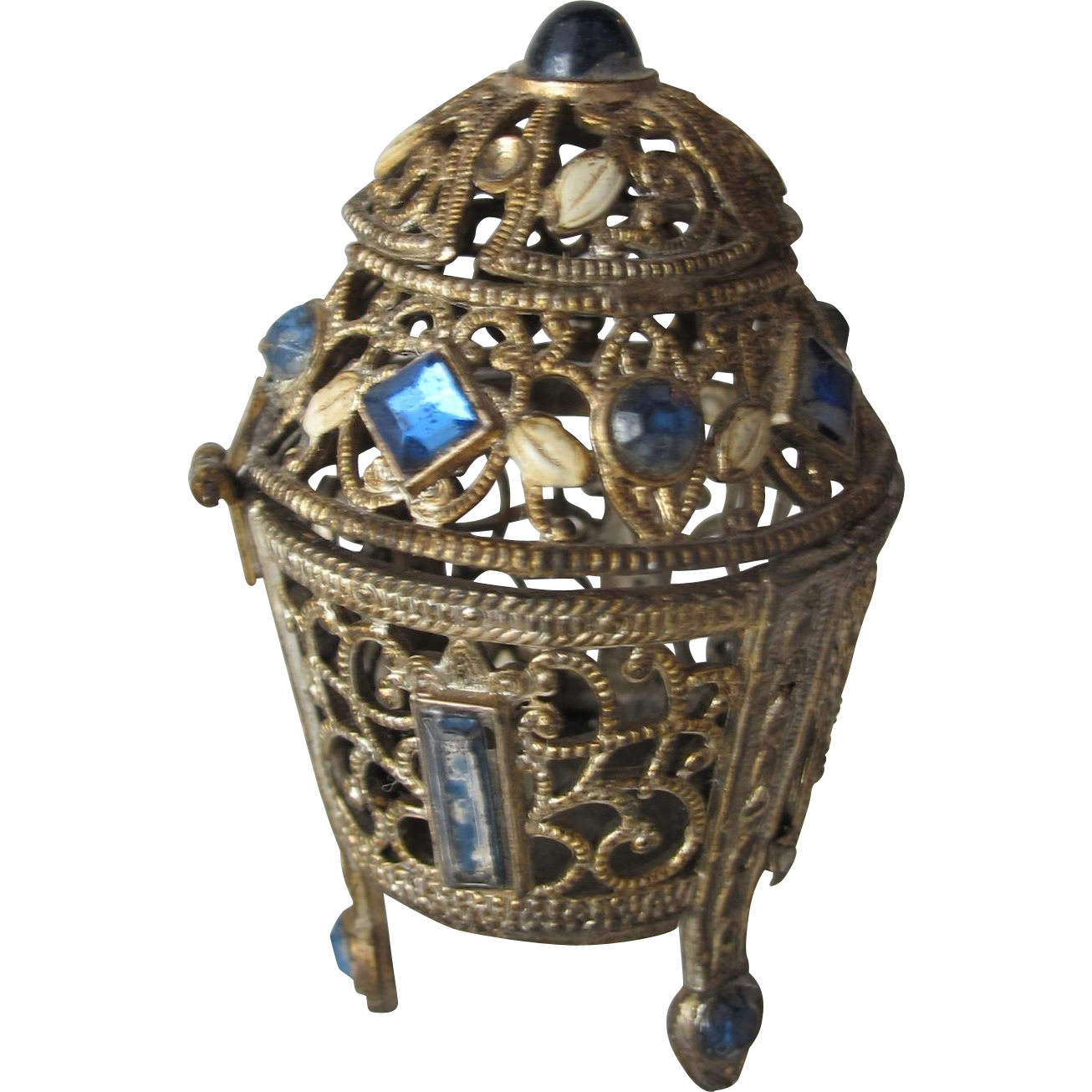 Irice Perfume Bottle Container Jeweled Filigree with Enamel Czechoslovakia