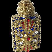 Jeweled Perfume Bottle Filigree Red White Blue Czech Republic