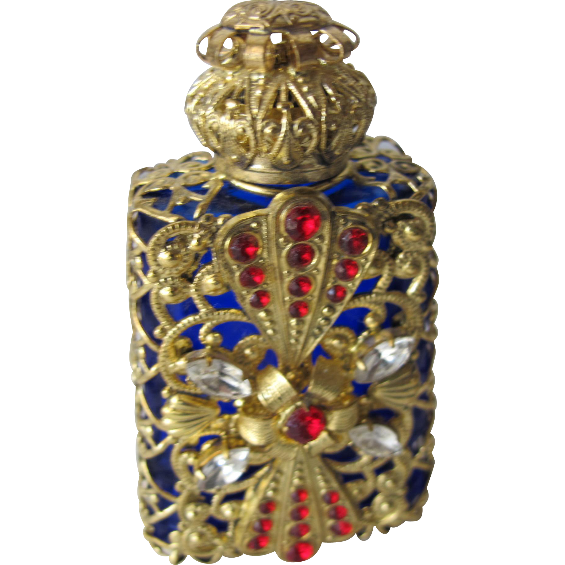 Jeweled Perfume Bottle Filigree Red White Blue Czech Republic