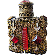 Jeweled Perfume Bottle Czechoslovakian Mini Purse Perfume Red