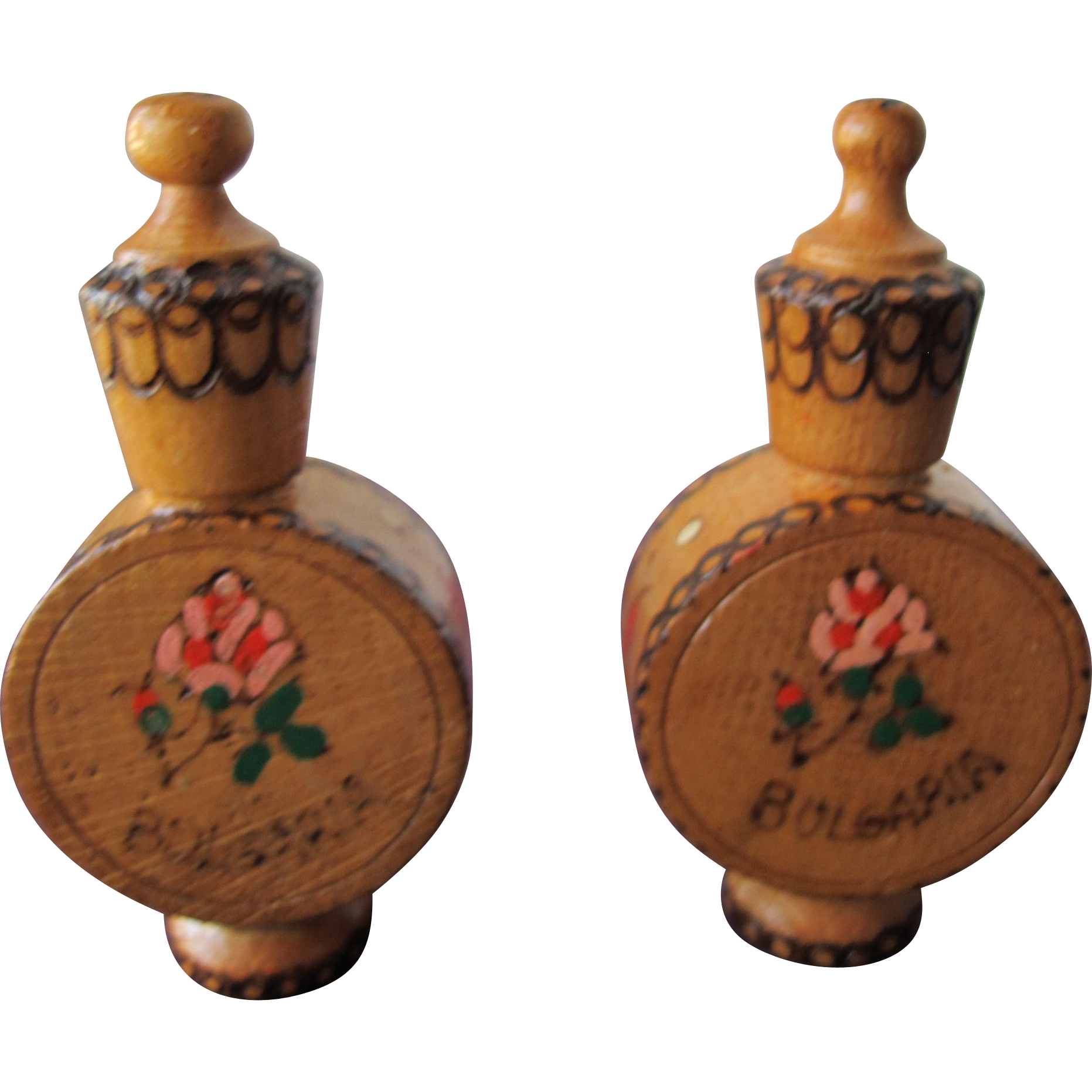 Two Perfume Bottles Wood Containers Holding Rose Oil From Bulgaria