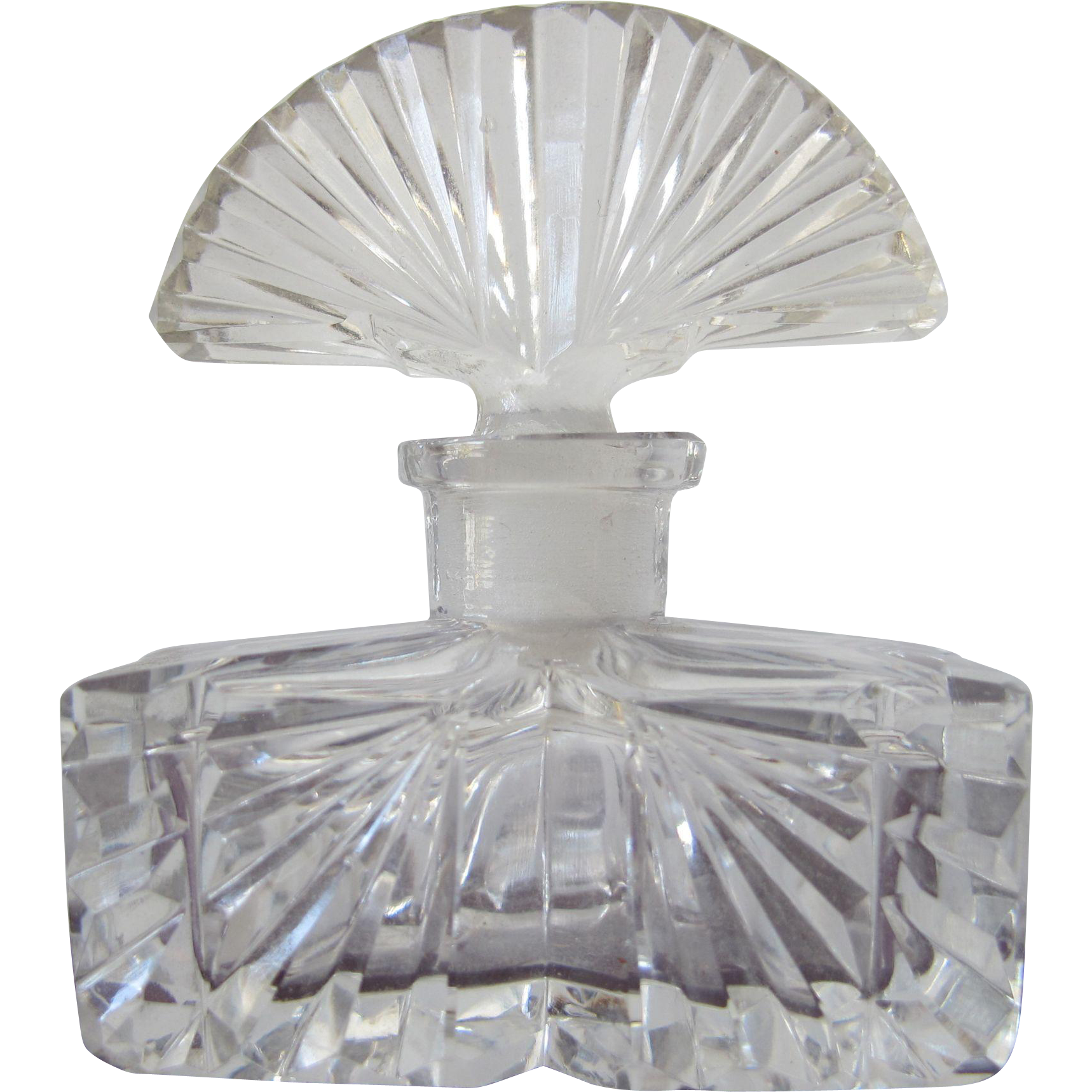 Czechoslovakian Perfume Bottle 1920's Crystal Glass with Glass Dauber